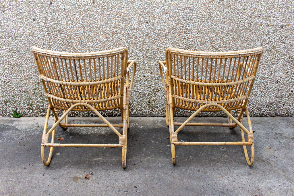 Vintage French Rattan and Bamboo Armchairs, Pair Available