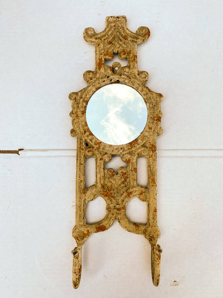 Antique Spanish Painted Cast Iron Wall Mirror with Two Hooks