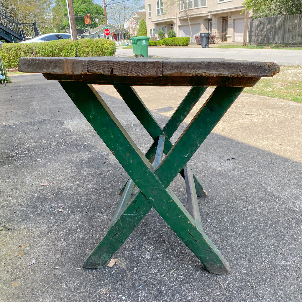 Antique French Wood Trestle Style Work Table with Green Base, circa 1850