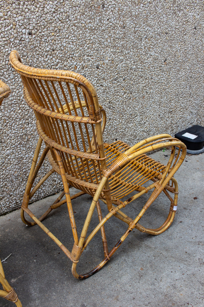 Vintage French Bamboo & Rattan Armchair with Tall Back