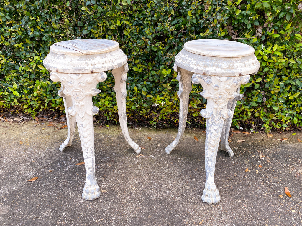 Pair of 1920s French Painted Zinc Pedestal Tables
