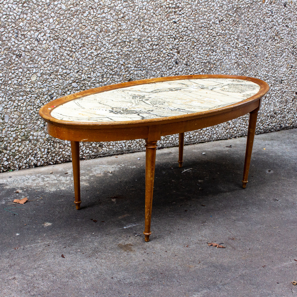 Vintage Blonde Wood Ovular Coffee Table with Map of Belgium Top Detail