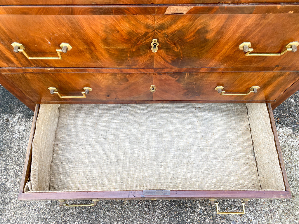 19th c French Louis Philippe Mahogany Veneer Chest of Drawers with Marble Top