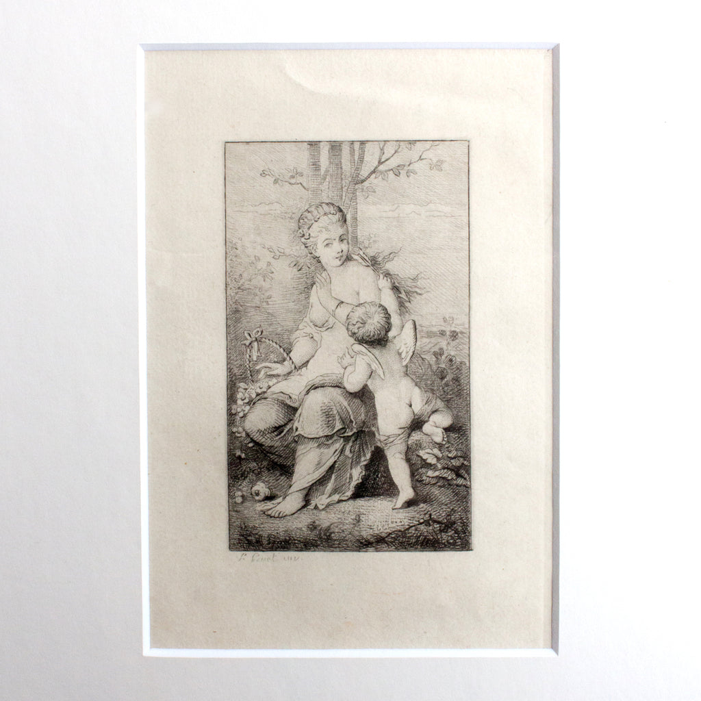 Framed Antique Woman with Cherub Etching found in France
