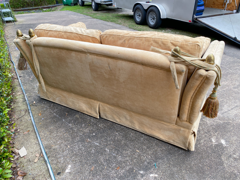 Vintage French Ivory Velvet Canapé Sofa with Adjustable Arms and Brass Finials