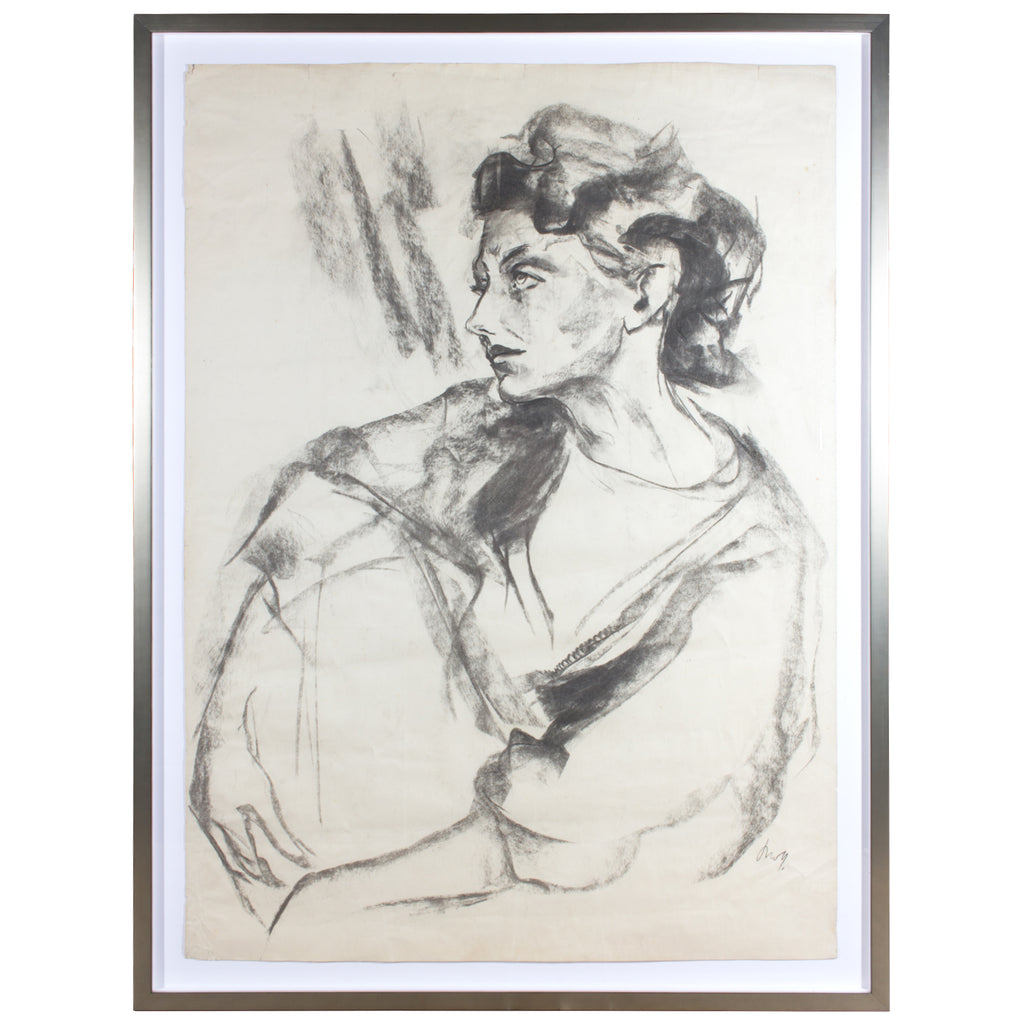Framed Signed Mid-Century Charcoal Sketch Found in Paris