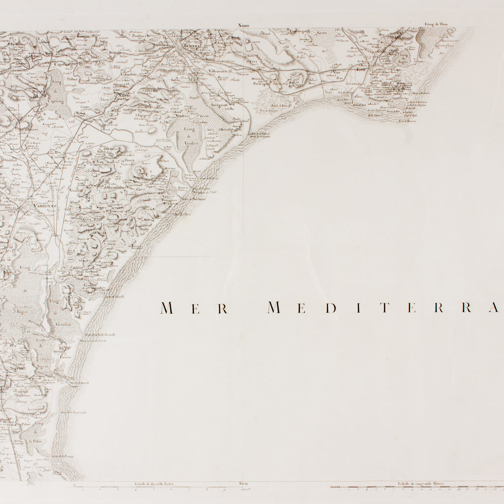Framed Antique Map of Southern France & The Mediterranean found in Paris