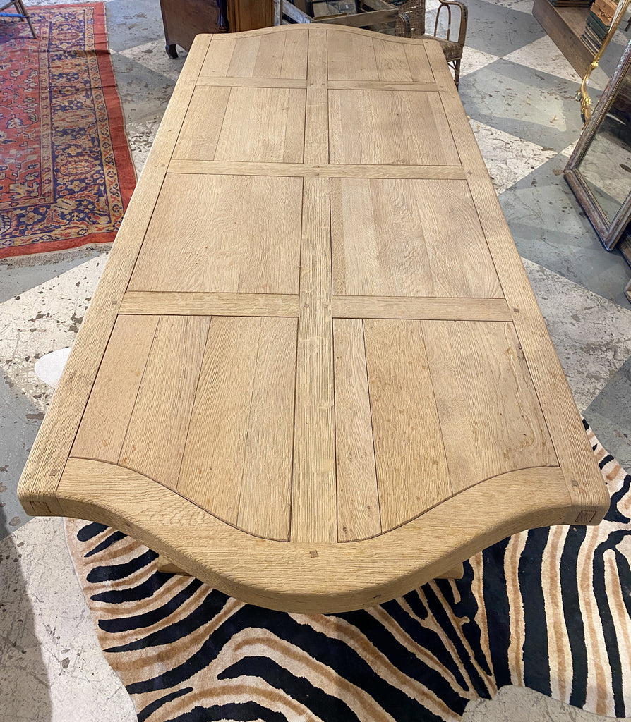 Vintage Stripped French Oak Dining Table with Trestle Base