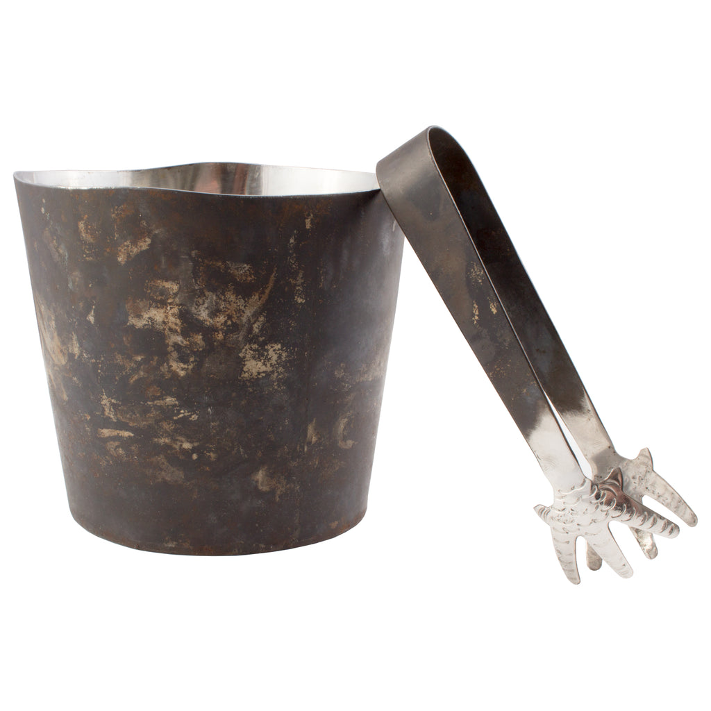 Handmade Metal Ice Bucket & Tongs from Sri Lanka