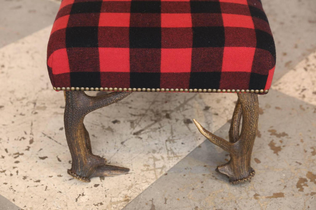 Ralph Lauren 4' Huntley Lambswool Bench with Vintage European Stag Antler Legs