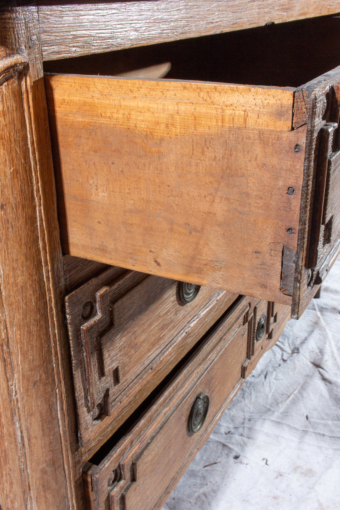 Early 18th Century French Distressed Finish Three-Drawer Commode