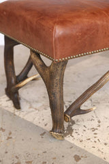 Leather Bench with Vintage European Stag Antler Legs