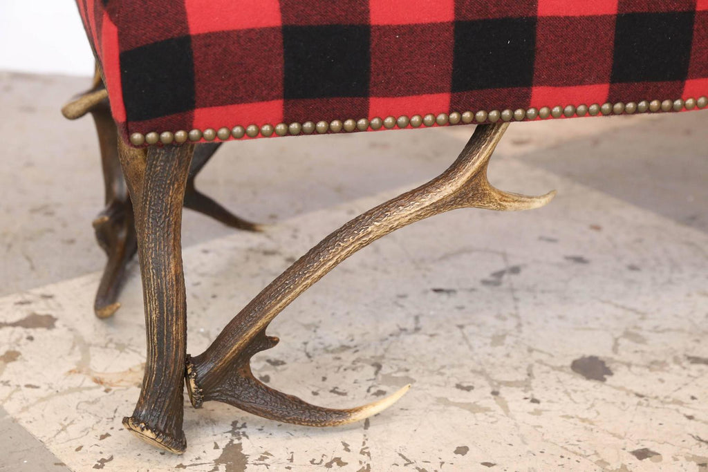 Ralph Lauren 5' Huntley Lambswool Bench with Vintage European Stag Antler Legs