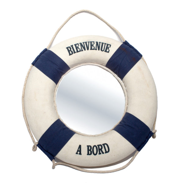 "Vintage French ""Bienvenue A Bord"" Lifesaver Mirror"