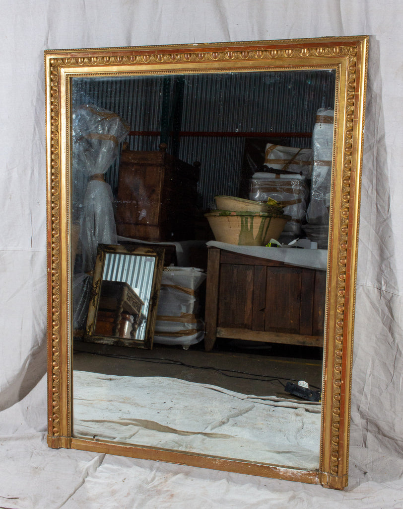 Large Antique French Gilt Mirror with Original Glass