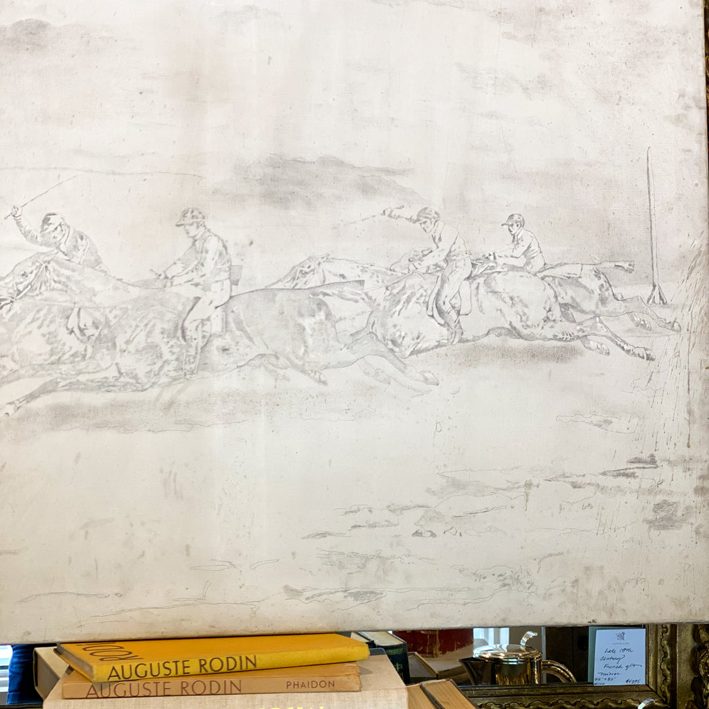 Antique French Painting of Horse Riders in Cream