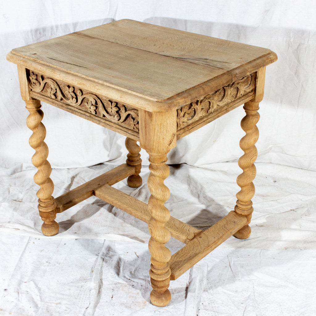 Antique French Carved Oak Barley Twist Side Table with Drawer