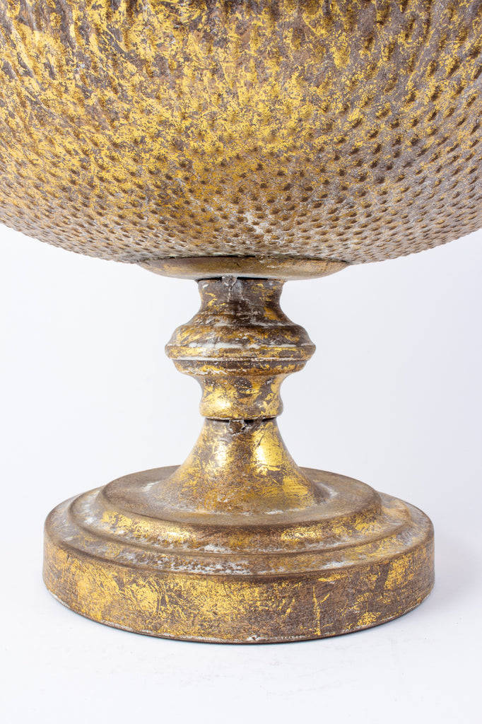 Textured Decorative Pedestal Bowl in Antiqued Gold Finish