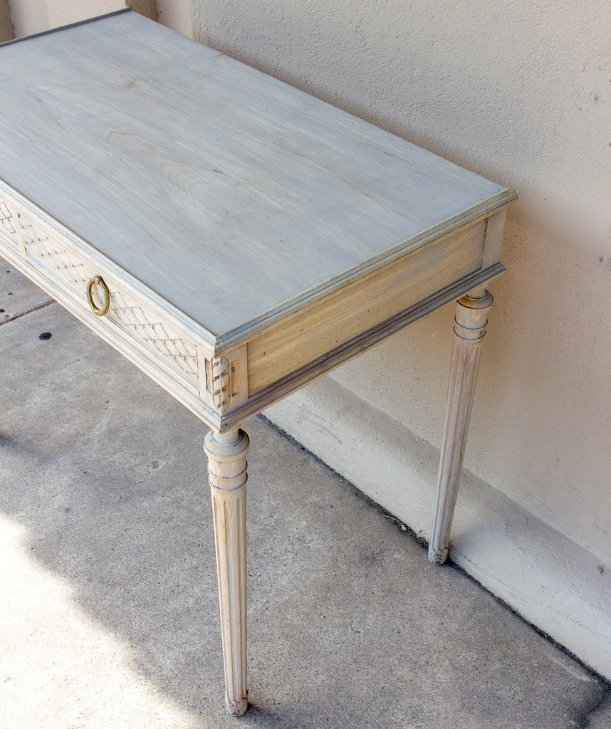 Antique French Louis XVI Style Wood Writing Desk in Greige Wash