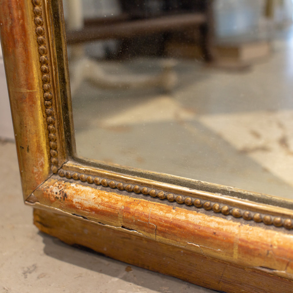 Antique French Gilt Louis Philippe Floor Mirror with Carved Bow