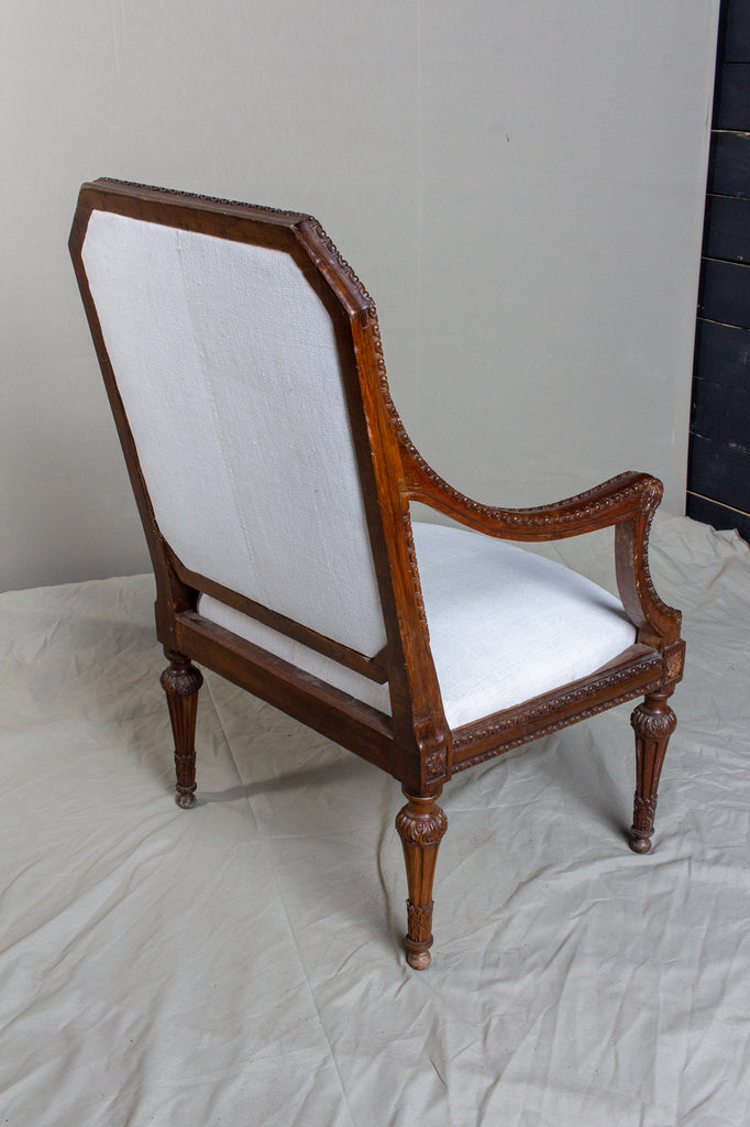 19th Century French Carved Armchair with Linen Upholstery