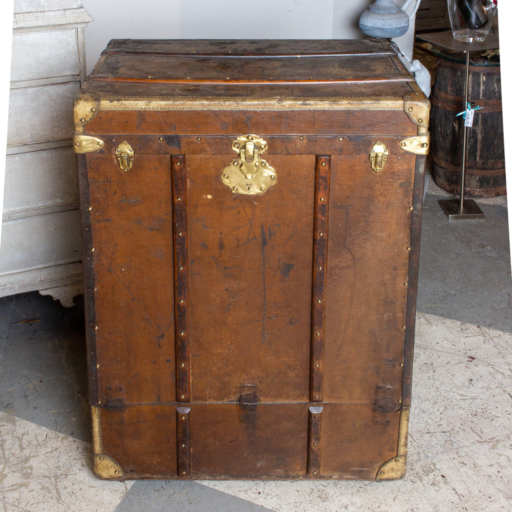 Antique Tall Leather Trunk Luggage with Front Opening Panel found in France