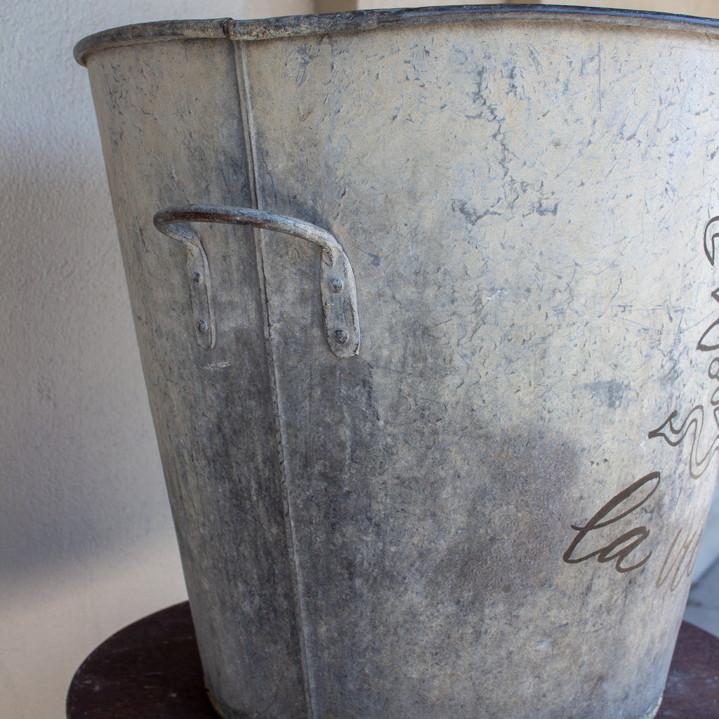 "1900s Industrial Zinc Bucket With Calligraphy ""La Vie en Rosé"""
