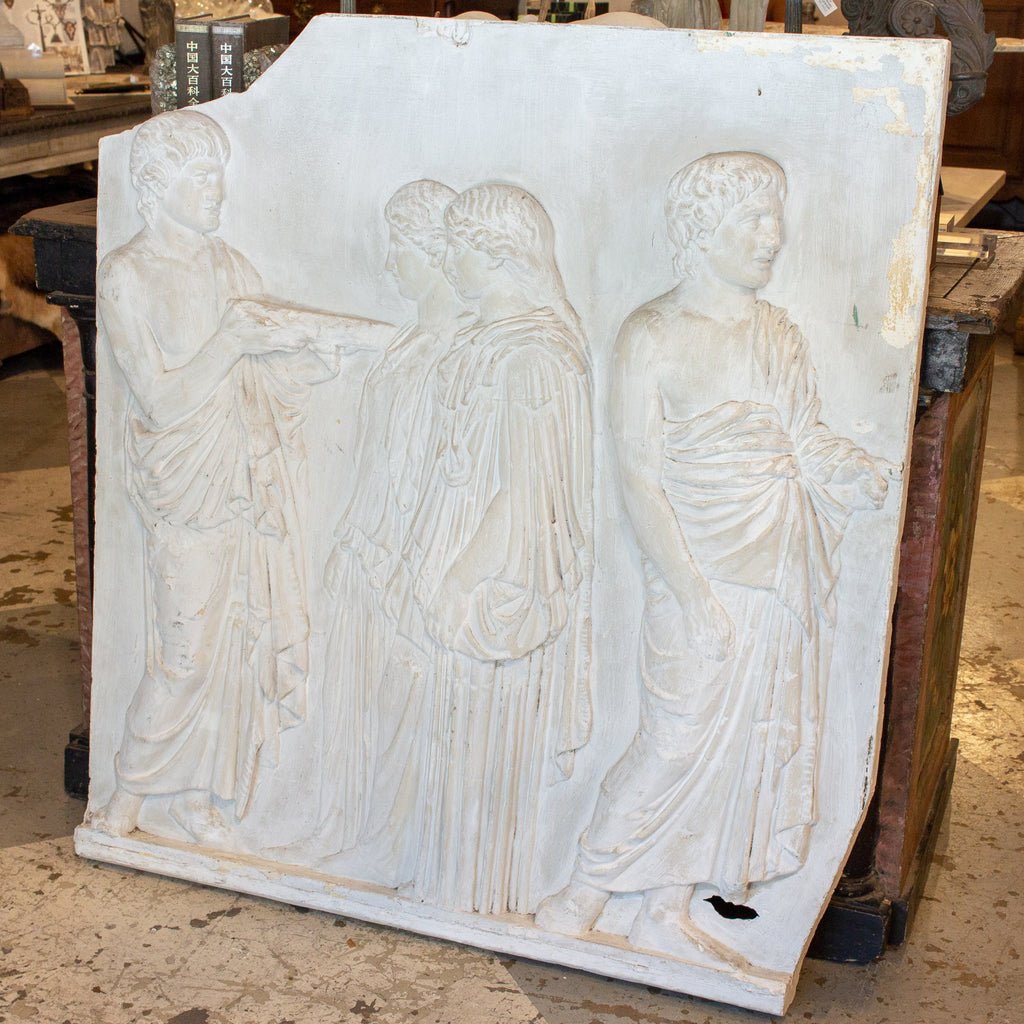 Antique European Greek Relief Art Plaque in Plaster found in Belgium