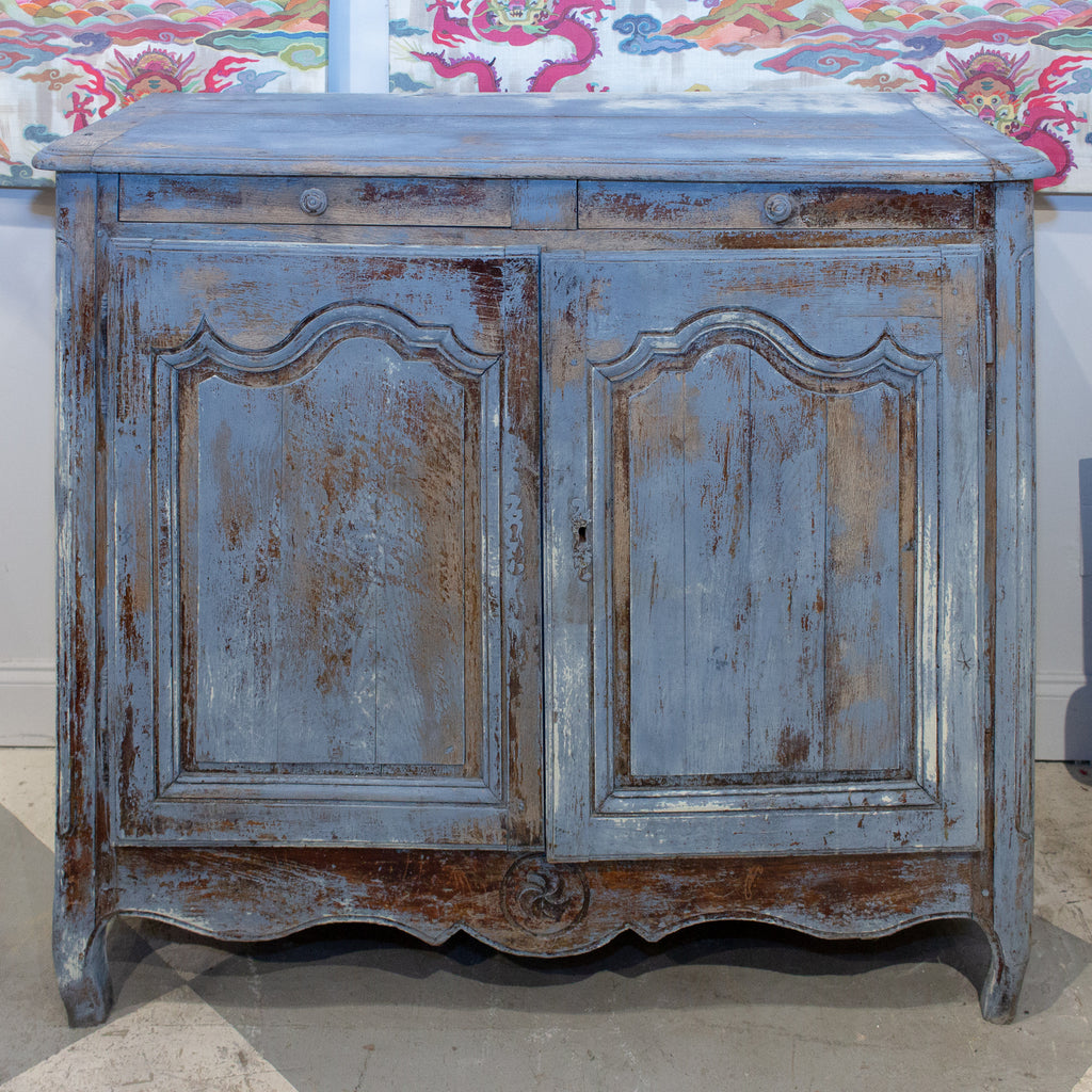 19th Century French Oak Cabinet in Distressed Blue Painted Finish