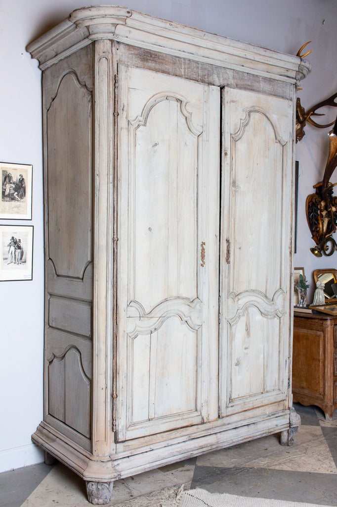 Large Antique French Oak Armoire in Greige Wash