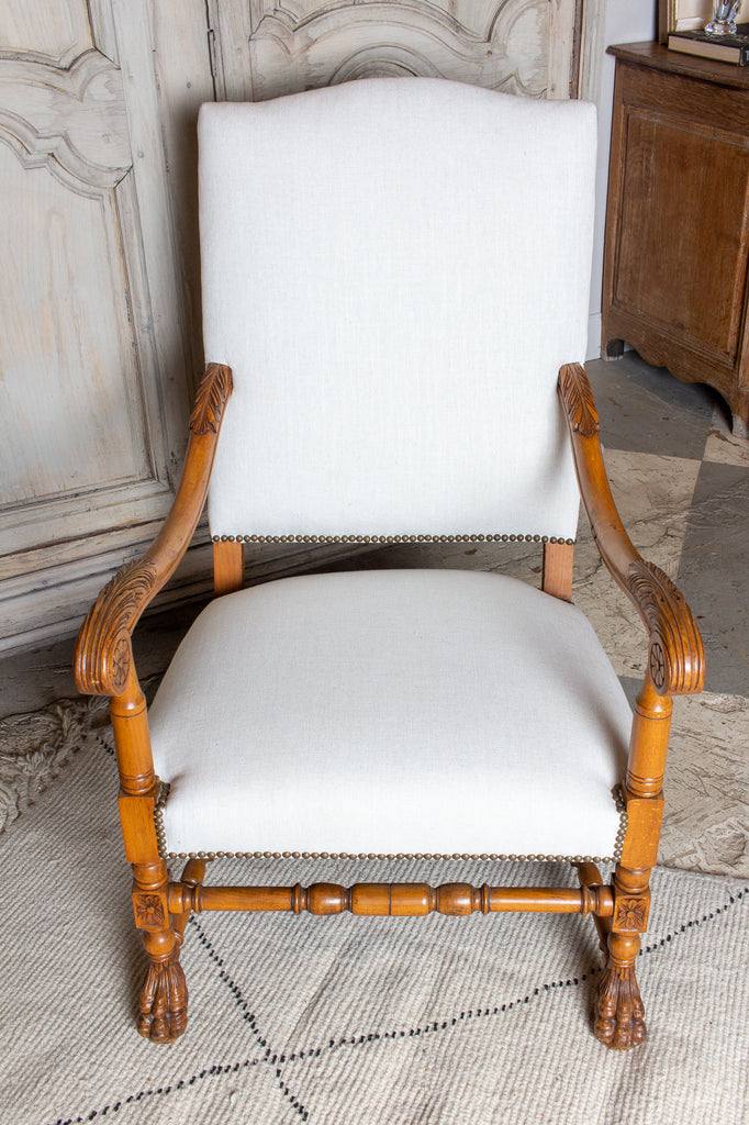 Antique French Louis XIII Carved Armchairs | Pair Available
