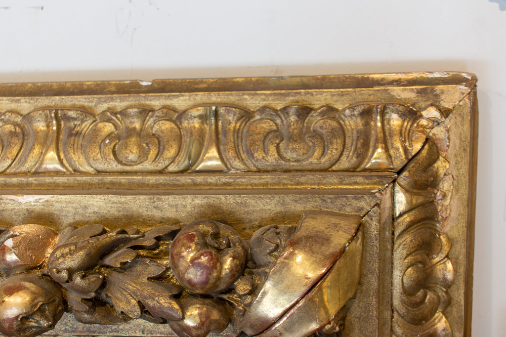 Large Antique French Gilt Floor Mirror with Carved Pomegranate & Leaf Details