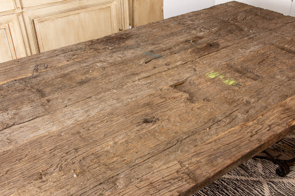 Antique Spanish Oak & Iron Dining Table