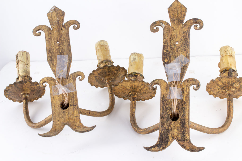 Antique Spanish Sconces from Barcelona - Two Arm Pair