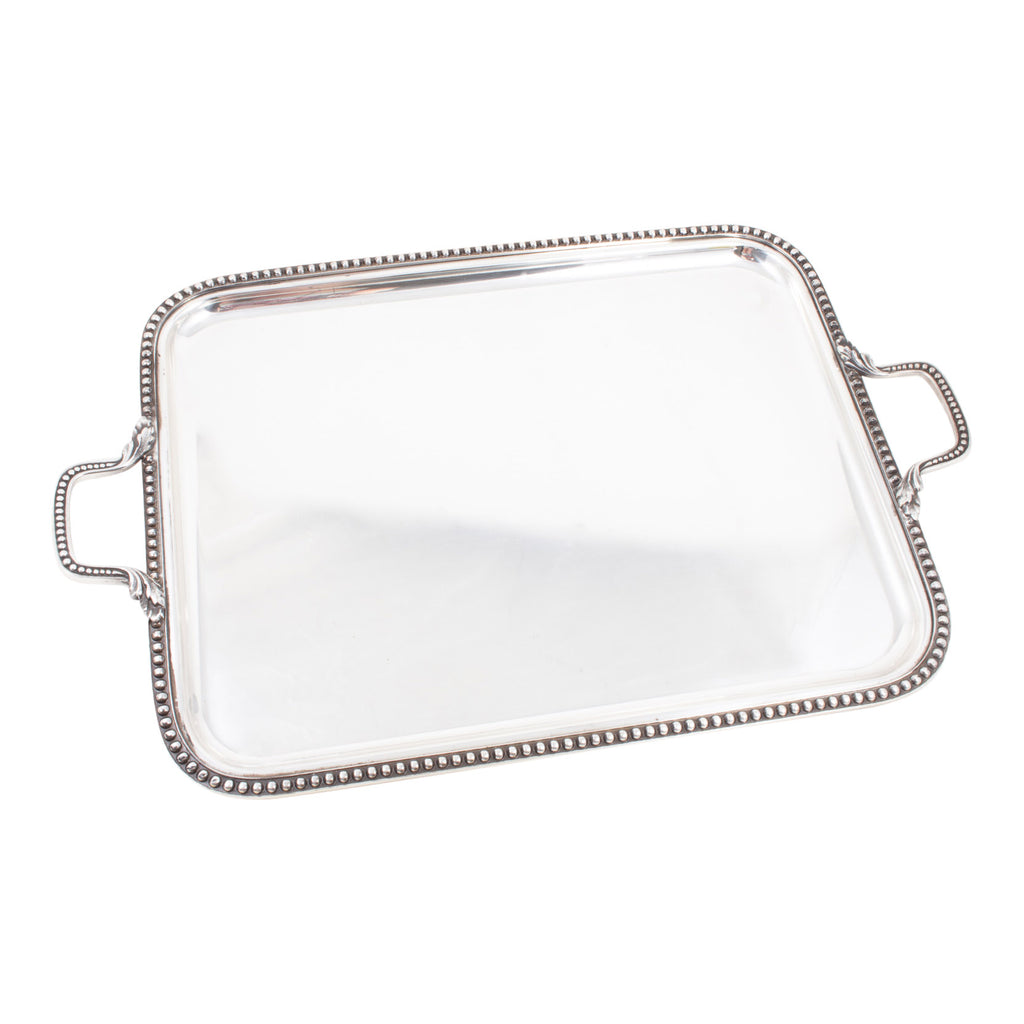 Antique Silverplate Handled Tray with Beaded Edge found in France
