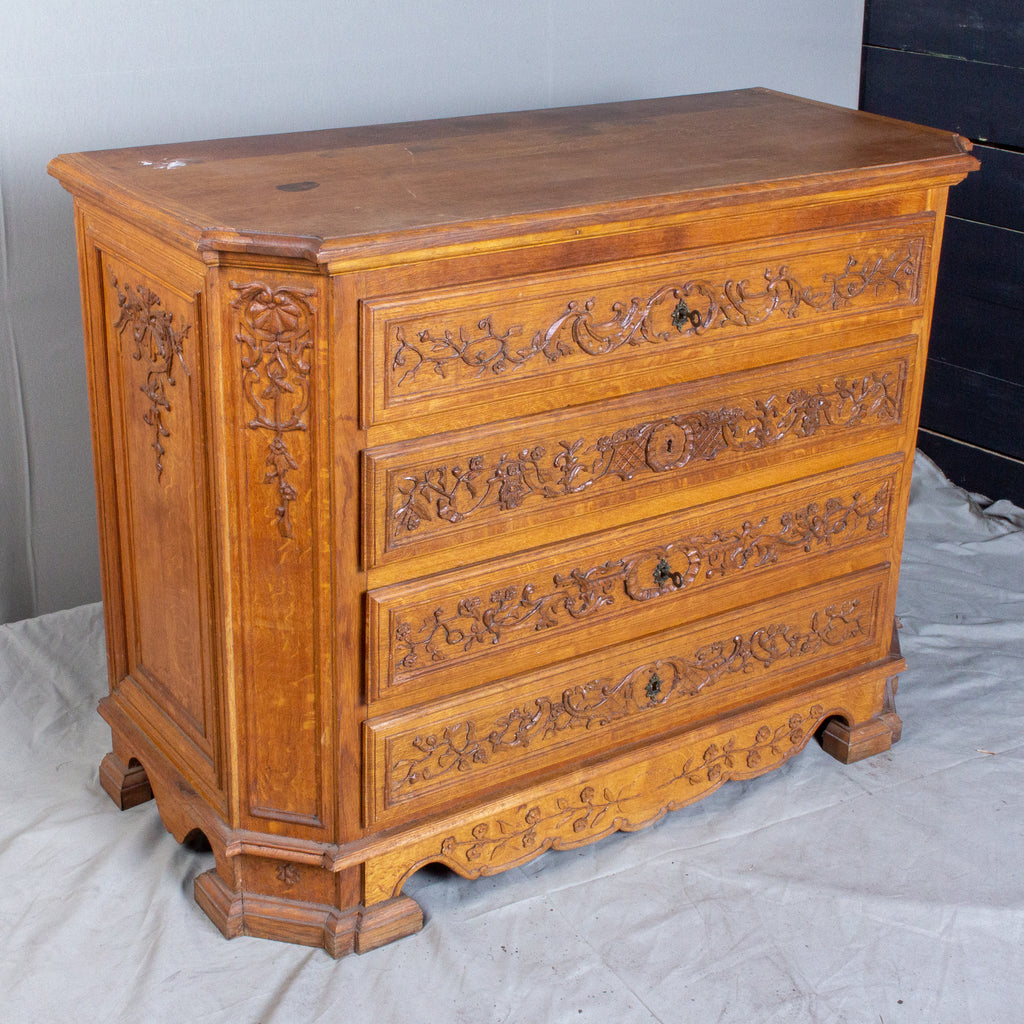 Antique French Ornate Four-Drawer Commode with Key-Pulls