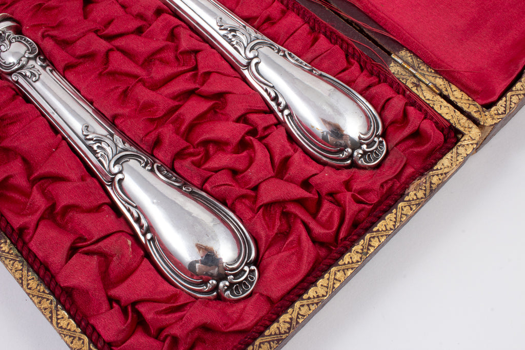 Hand Engraved Antique French Silver-plate Service Set in Original Box