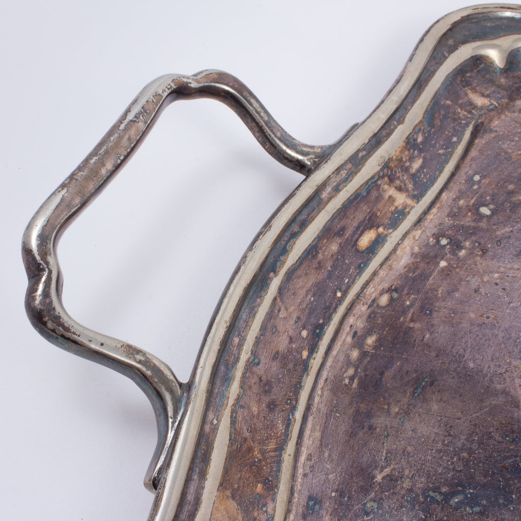 Antique Georgian Style Silver-plate Tray with Handles found in France