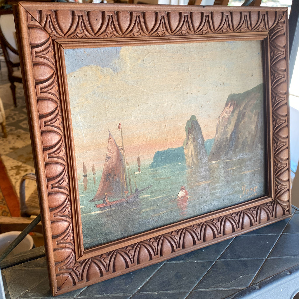 Small Vintage French Painting of the Côte d'Azur in Wood Frame