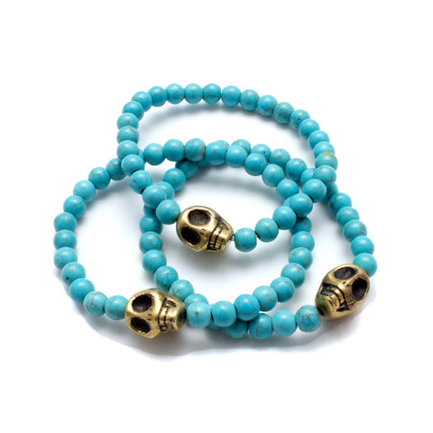 Brass Skull & Turquoise Bead Stretch Bracelets from Istanbul