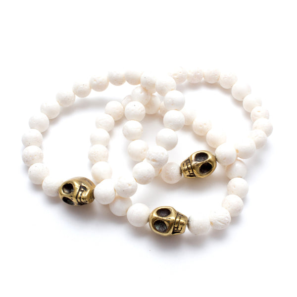 Brass Skull & White Volcanic Stone Bead Stretch Bracelets from Istanbul
