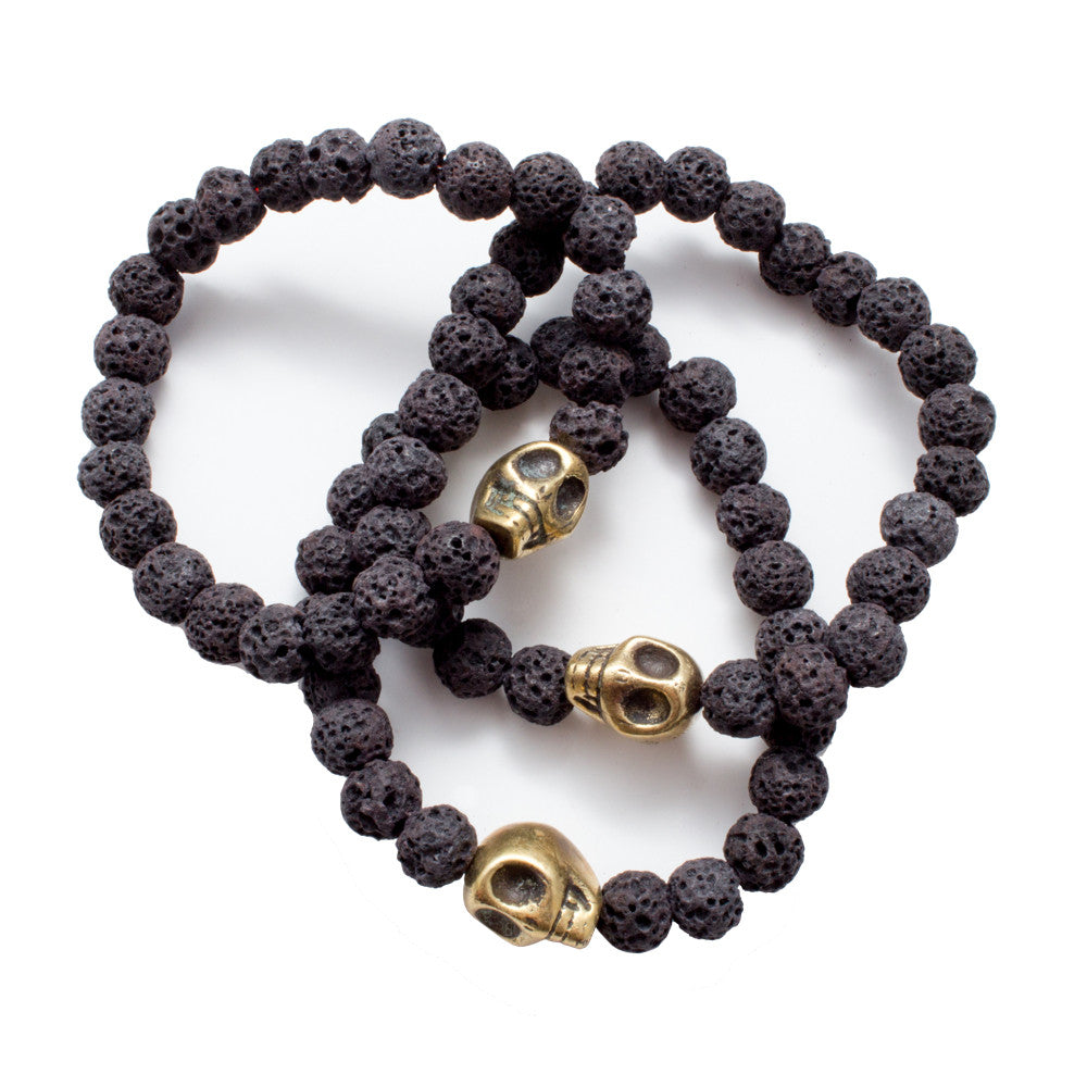 Brass Skull & Black Volcanic Stone Bead Stretch Bracelets from Istanbul