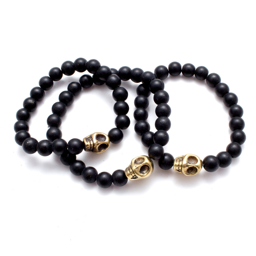 Turkish Brass Skull & Black Stone Bead Stretch Bracelets