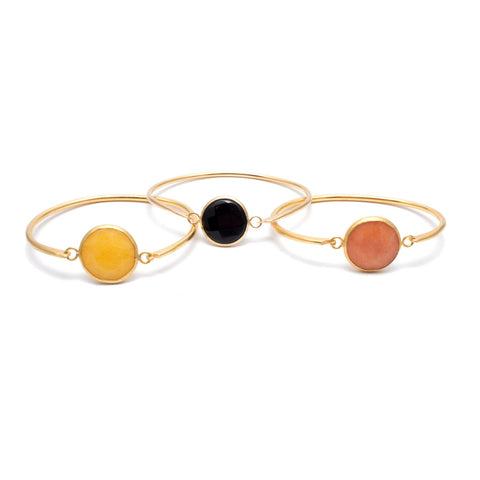 Gold Disc Bangles with Checker Board Stone from Istanbul