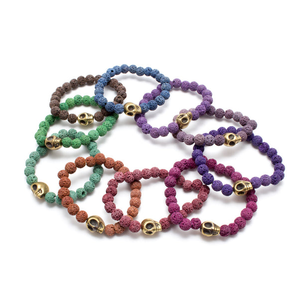 Brass Skull & Colorful Volcanic Stone Bead Stretch Bracelets from Istanbul