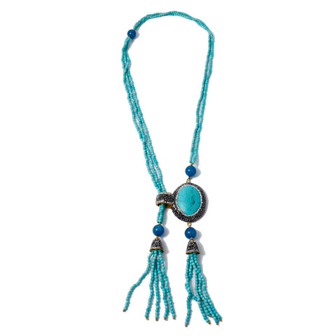 Turquoise & Pave Crystal Pendant Asymmetric Tassel Necklace from Istanbul