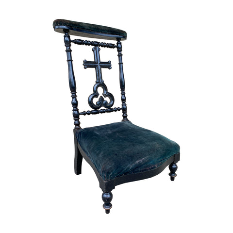 Antique French Napoleon III Ebonized Wood & Velvet Prie Dieu Prayer Chair
