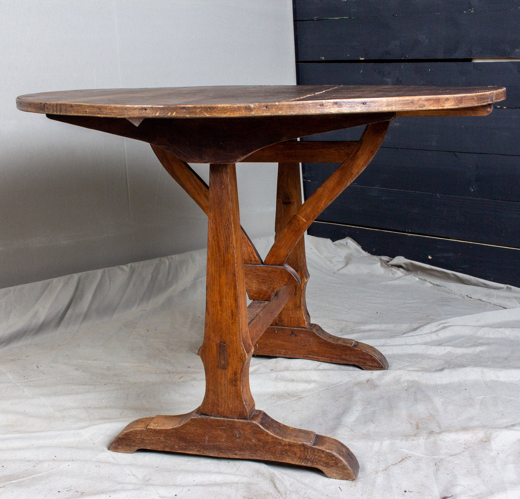 "Antique French ""Vendage"" Vineyard Harvest Tilt-Top Table"