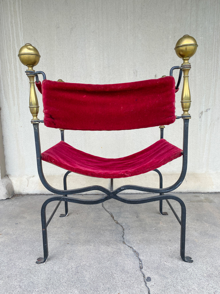 Midcentury Spanish Iron Savonarola Chair with Brass Accents and Red Velvet