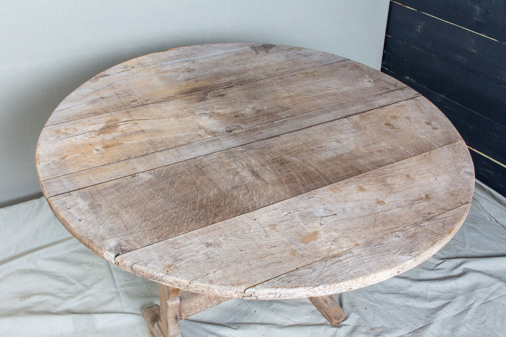 "Bleached Antique French ""Vendage"" Vineyard Harvest Tilt-Top Table"